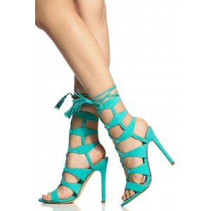 Turquoise Lace up Sandals Tassels Suede Stiletto Heels for Women