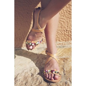 Yellow Summer Sandals Open Toe Beach Flats with Colorful Rhinestone