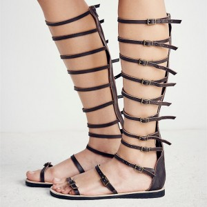 Women's Brown Buckle Open Toe Hollow Out Flats Gladiator Sandals