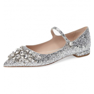 Silver Wedding Shoes Rhinestone Comfortable Flats Pointed Toe Bridal Shoes