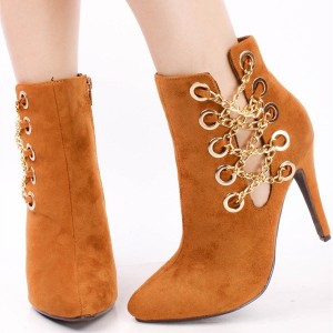 Women's Comfortable Ginger Suede Stiletto Heels Pointed Toe Ankle Booties