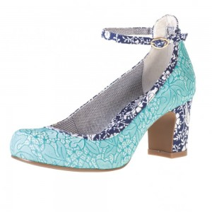 Women's Lightblue Floral Ankle Straps Heels Chunky Heels Pumps