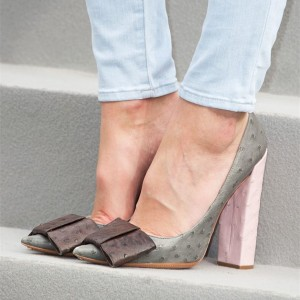 Grey Bow Heels Vegan Ostrich Skin Pointy Toe Chunky Heel Pumps
