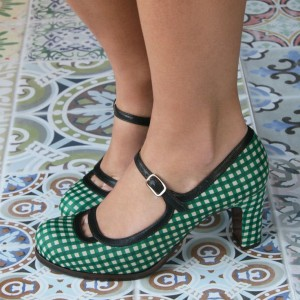 Women's Green Mary Jane Shoes Chunky Vintage Heels Pumps