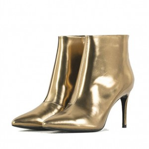 Women's Golden Pointed Toe Stiletto Heels Ankle Boots