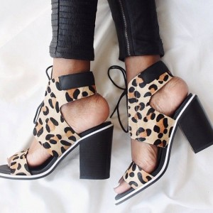 Women's Leopard Print Heels Chunky Heel Lace-up Sandals
