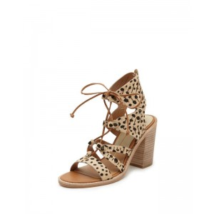 Leopard Print Heels Chunky Heel Lace-up Sandals