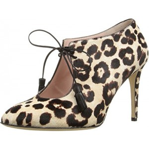 Leopard Print Boots Lace-up Cutout Stiletto Heels Ankle Booties