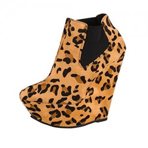 Khaki Leopard Print Boots Suede Wedge Booties with Platform