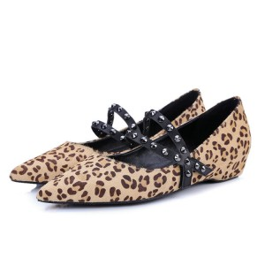 Leopard Print Flats Pointy Toe Studs Shoes