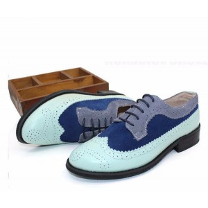 Cyan and Navy Stitching Color Vintage Women's Oxfords& Brogues