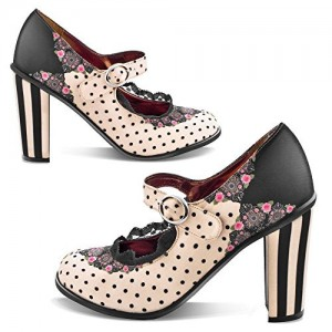 Black and Beige Polka Dots Mary Jane Shoes Lace Floral Vintage Pumps