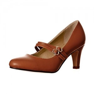 Tan Mary Jane Escarpins Vintage Chunky Talons