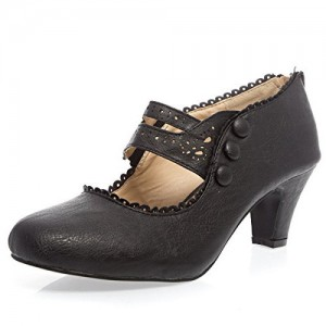 Black Hollow Out Vintage Talons à bout rond Cone Heel Mary Jane Escarpins