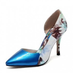 Blue Floral Heels Pointy Toe Patent Leather Stiletto Heels D'orsay Pumps