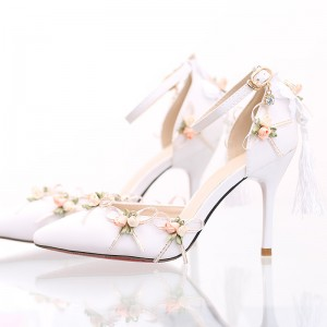 White Wedding Shoes Lace Satin Stiletto Heels Tassels Ankle Strap Pumps