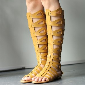 Yellow Hollow out Gladiator Sandals Open Toe Flats Knee-high Sandals
