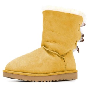 Yellow Suede Flat Winter Boots with Bow