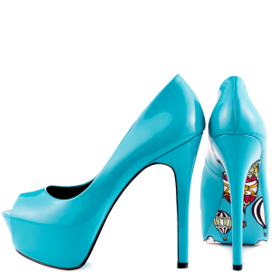 Women's Cute Blue Stiletto Heels Peep Toe Pumps Platform Shoes