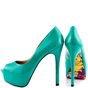 Green Floral Print Peep Toe Heels Stiletto Pumps Platform Shoes