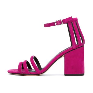 Women's Magenta Chunky Heel Ankle Strap Sandals