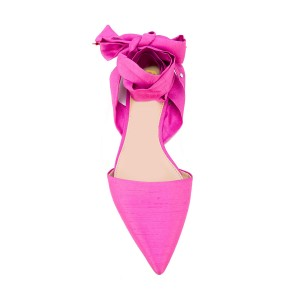 Women's Fuchsia Pointed Toe Flats Strappy Ankle Strap Sandals