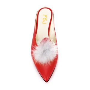 Red Closed Toe Wedges Fluffy Ball Mules by FSJ