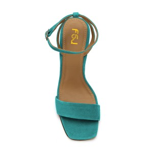 Women's Turquoise Suede Block Heel Ankle Strap Sandals