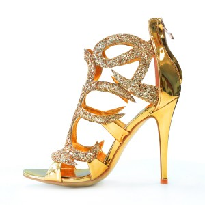 Gold Evening Shoes Cage Sandals 5 Inches Stiletto Heels Glitter Shoes