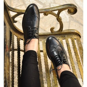 Women's Oxfords Black Fringe Lace-up Vintage Shoes Comfortable Flats