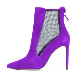 Women's Purple Back Zipper Pointed Toe Stiletto Boots Ankle Boots
