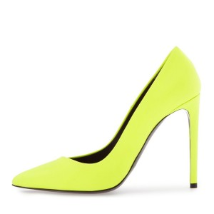 Neon Yellow Vegan Shoes Pointy Toe Stiletto Heel Pumps US Size 3-15