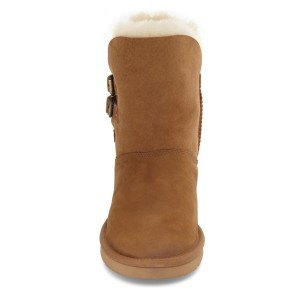 Tan Winter Boots Round Toe Flat Comfy Mid Calf Snow Boots US Size 3-15