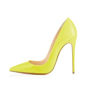 FSJ Yellow Spring Office Heels Pointy Toe Stiletto Heel Pumps for Lady