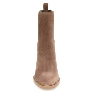 Women's Brown Chelsea Boots Commuting Suede Wooden Chunky Heel Boots