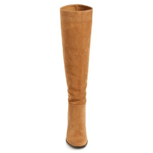 Khaki Knee Boots Suede Chunky Heel Vintage Boots