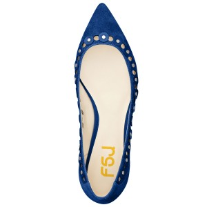Cobalt Blue Shoes Suede Pointy Toe Flats Studs Shoes by FSJ