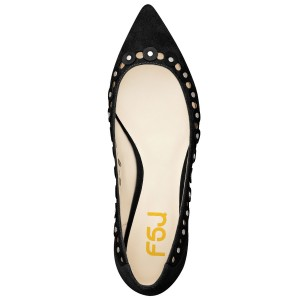 Black Studs Embellishment évider des appartements confortables bout pointu