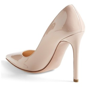 Ivory Heels Patent Leather Stiletto Heel Pumps for Office Ladies