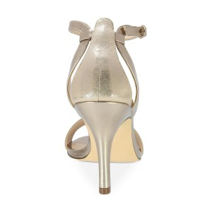 Women's Champagne Mirror Leather Open Toe Stiletto Heel Ankle Strap Sandals