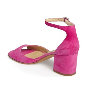 Magenta Soft Suede Chunky Heels Peep Toe Ankle Strap Sandals