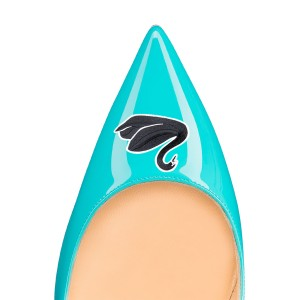 Turquoise Swan Floral Office Talons femmes Pointy Toe Stiletto Talons pompes