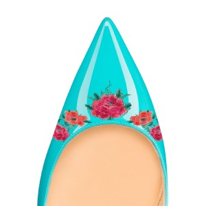Turquoise Floral Rose Office Talons femmes Pointy Toe Stiletto Talons Pompes
