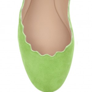 Lime Green Women's Suede Ballet Flats Round Toe Comfortable Flats