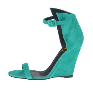 Teal Shoes Suede Wedge Heel Ankle Strap Sandals by FSJ