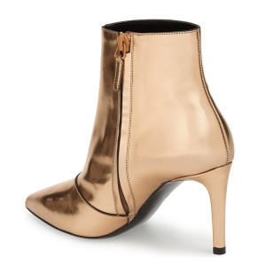 2019 Gold 3 Inches Stiletto Boots Pointy Toe Ankle Boots