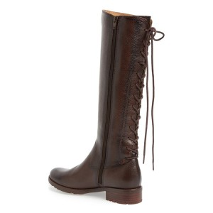 Brown Riding Boots Vegan Leather Round Toe Back Lace up Knee Boots