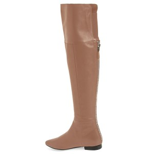 FSJ Apricot Flat Boots Pointy Toe Vegan Over-the-Knee Boots