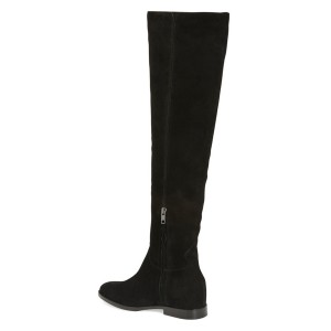 Black Long Boots Flat Knee-high Boots for Women
