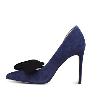 Navy Stiletto Heels Pointy Toe Suede D'orsay Pumps with Bow